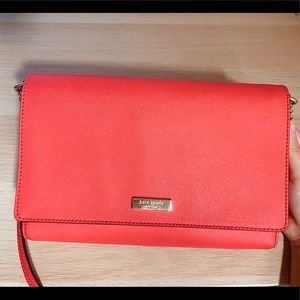 Kate spade crossbody bag red leather